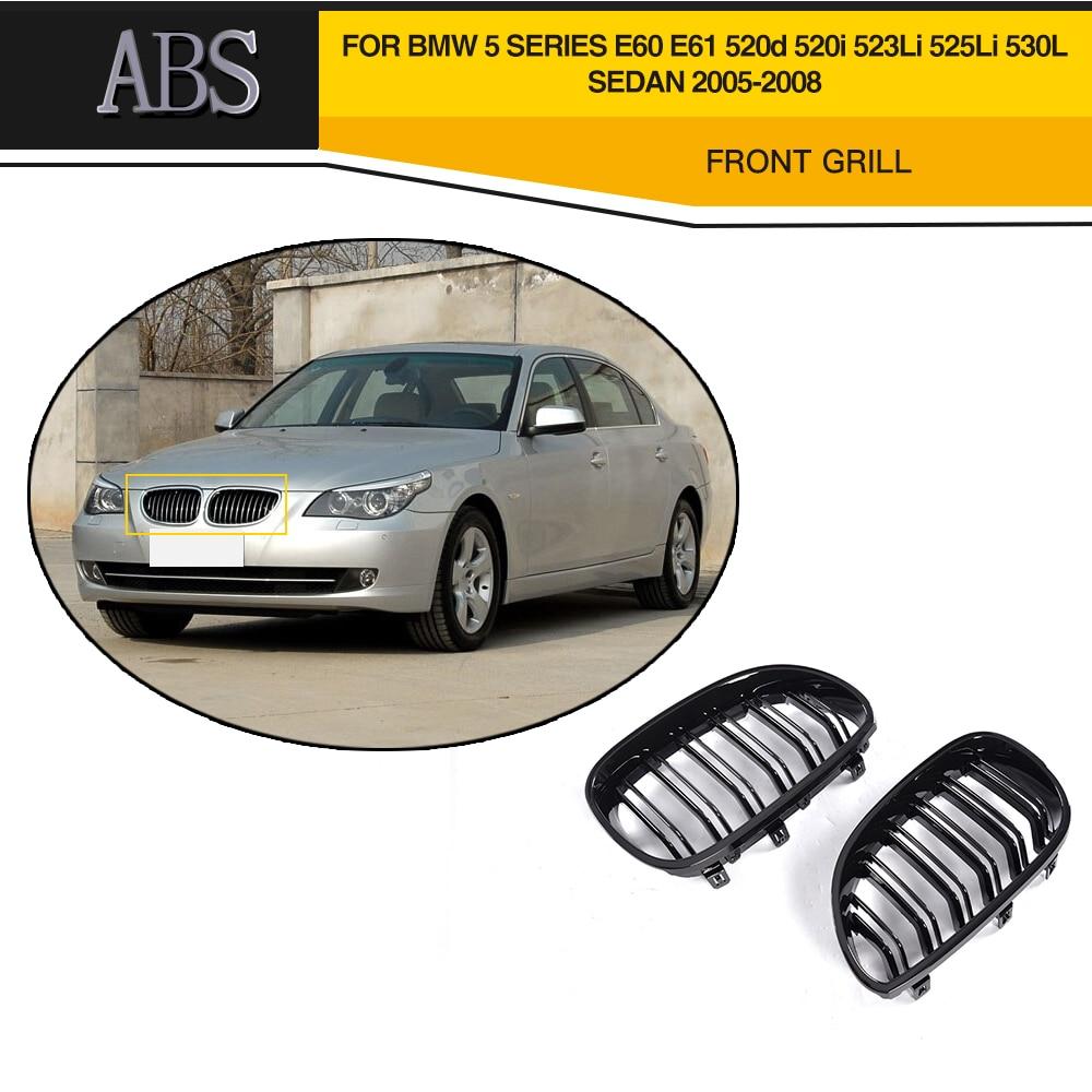 Rejilla de parachoques delantero ABS para BMW E60 E61 520d 520i 523i sedán 4 puertas 05-08 1 par de parrilla negra mate con doble línea