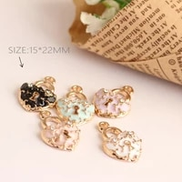 trendy rhinestone love lock pendant dangle charms bead fit diy enamel charms bracelet necklace jewelry findings making accessory
