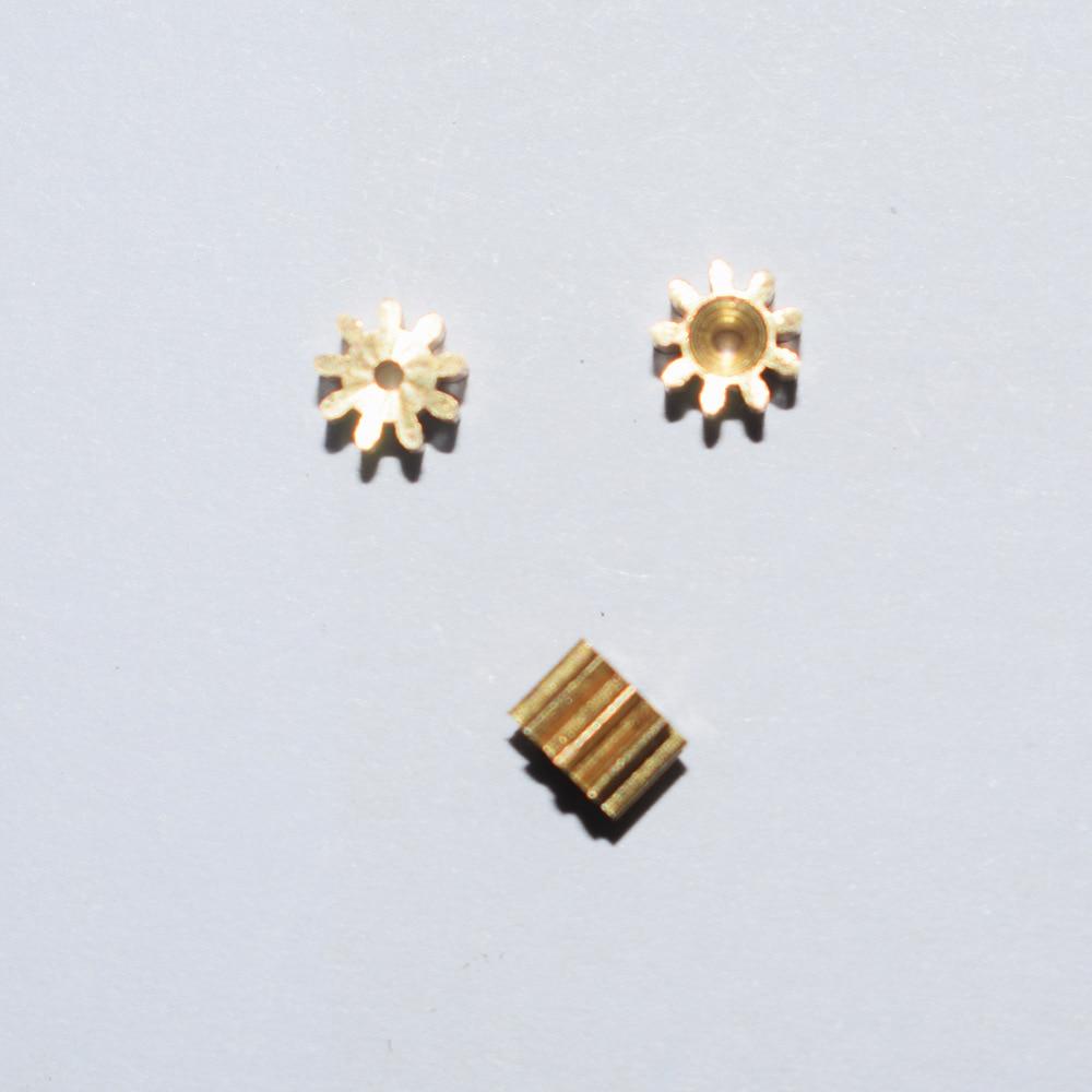 10/100 piezas 9 dientes 1mm agujero 0,4 M engranaje de cobre del Motor/accesorios de Juguetes diy/juguetes para bebés/accesorios de producción tecnológica 0.4m91a