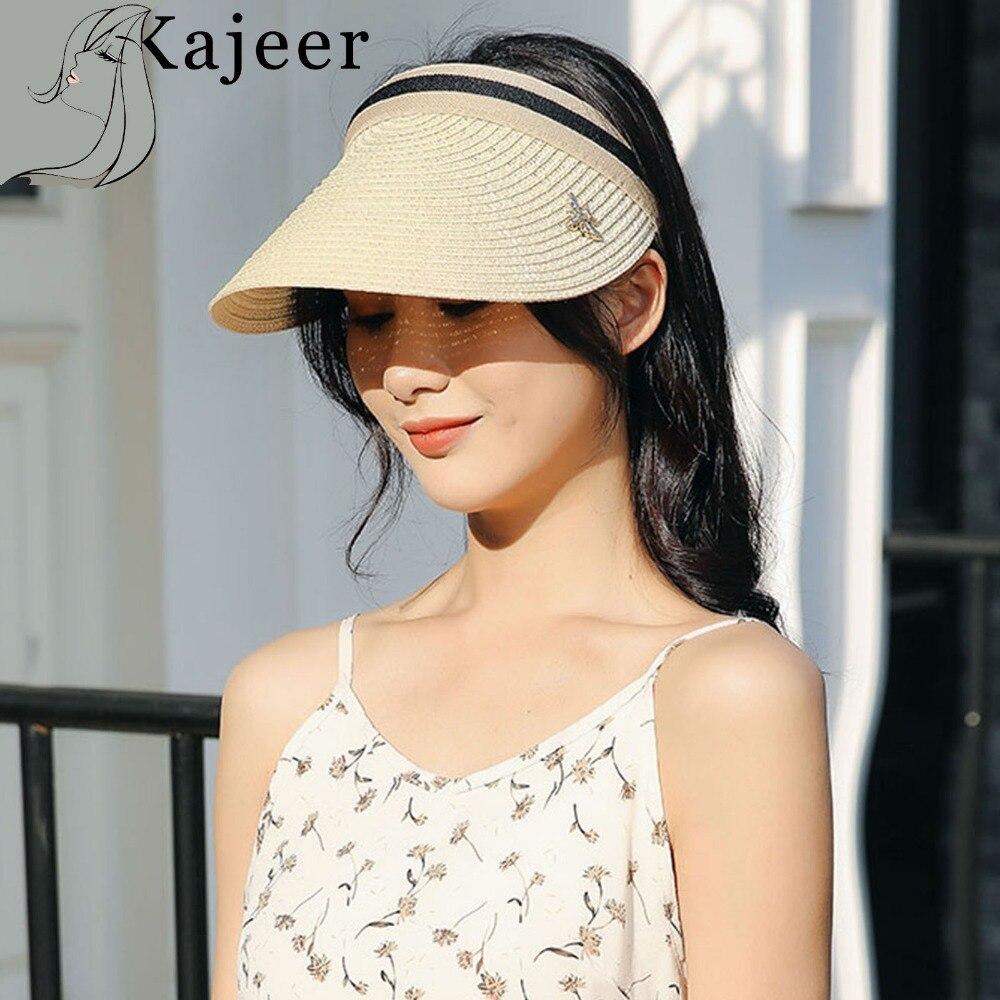 Kajeer sombreros de sol para mujer hechos a mano DIY, sombrero de paja de lazo con visera, gorra de verano para padres e hijos, sombrero de sombra informal, sombrero de Playa vacío