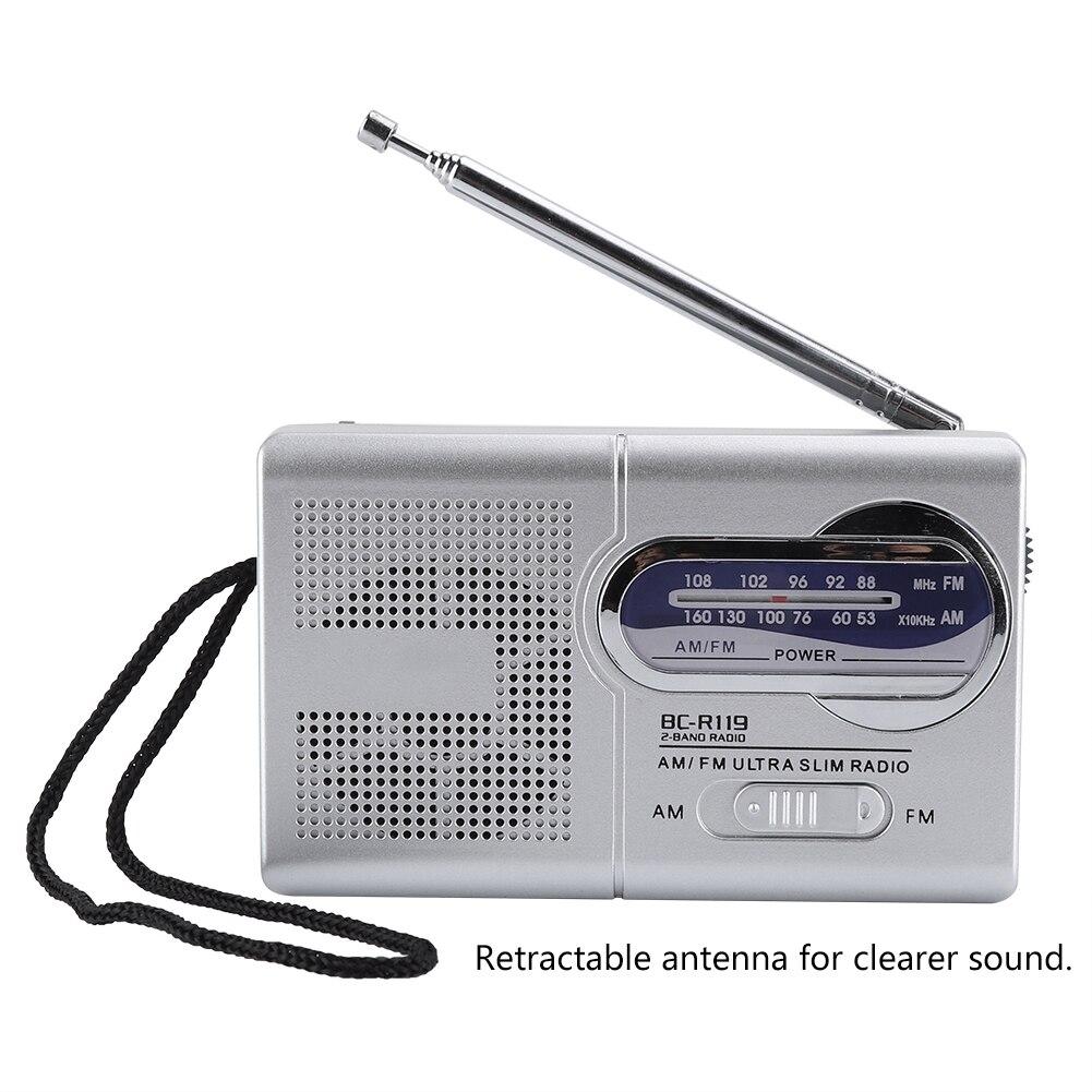 Radio AM/FM Moda Antigua multifunción Mini bolsillo AM/FM BC-R119 receptor de Radio antena telescópica