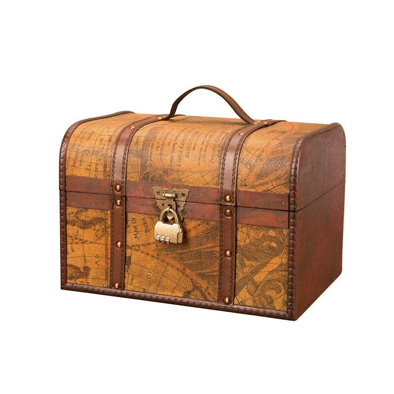 Caja de madera clásica europea caja de almacenamiento creativa Retro Cofre del Tesoro de madera antiguo adornos decoración del hogar regalos
