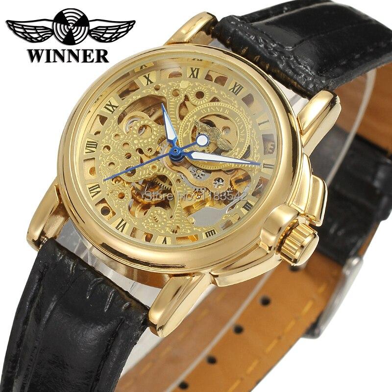 Winner-ساعة ميكانيكية أوتوماتيكية للنساء ، ساعة يد ، أحدث تصميم ، جودة عالية ، متجر مصنع ، علامة تجارية ، لون ذهبي ، WRL8011M3G4