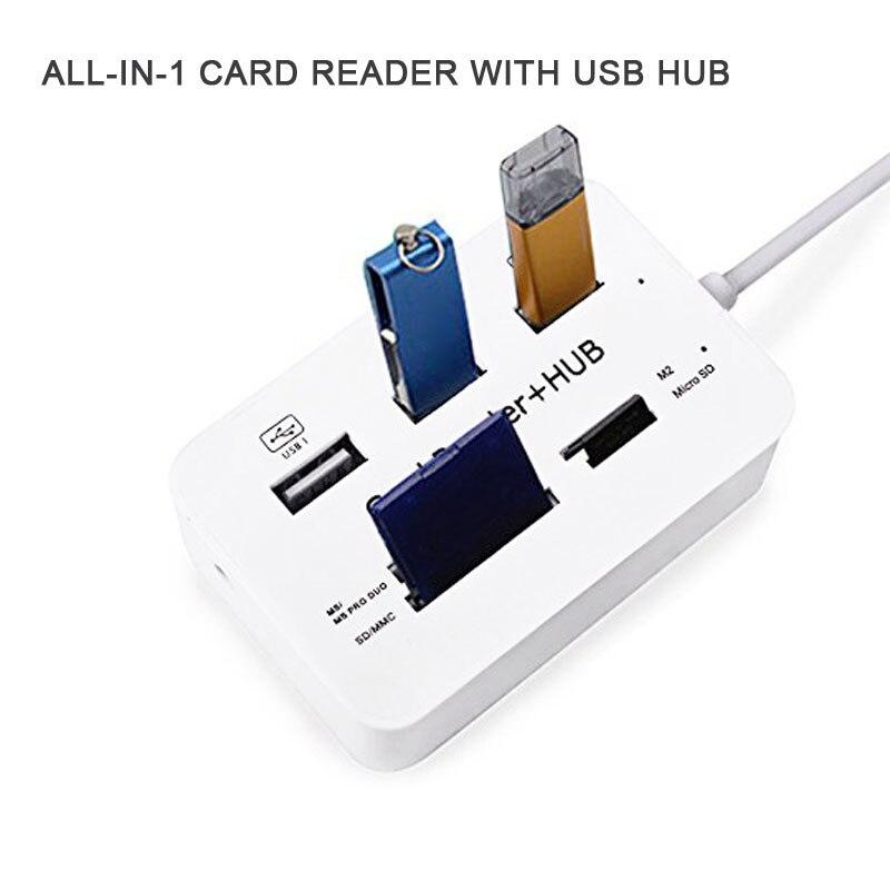 Novo portátil tudo em um hub usb 2.0 3 portas com hub leitor de cartão usb 2.0 480 mbps combinação para ms/m2/sd/mmc/tf para computador portátil qjy99
