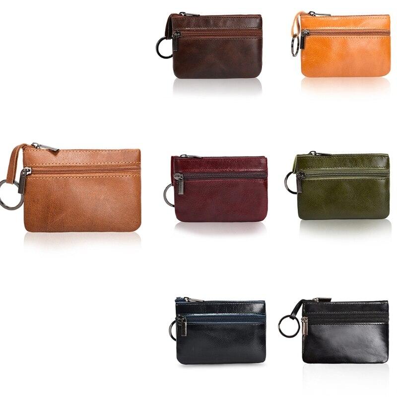 Thinkthendo mulheres pequenas bolsas de moedas carteiras titular do cartão de crédito chaveiro carteira bolsa caso novo 2 zíper couro mini sacos