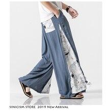 Sinicism Store 2020 Summer Chinese Style Cotton Pants Mens Patchwork Vintage Loose Pants Male Wide Leg Pants