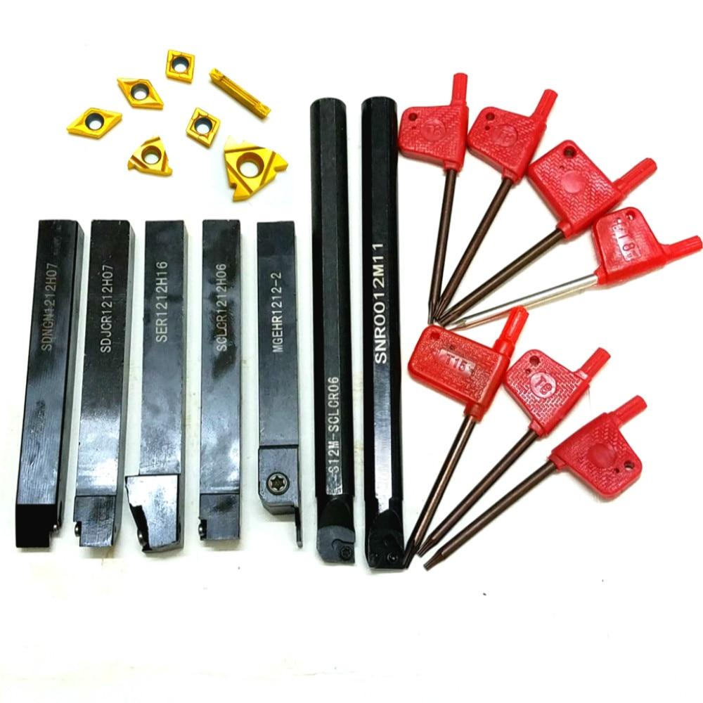 7pcs 12mm CNC Shank Lathe Turning Tool Holder + DCMT TCMT CCMT Inserts Blades For SDNCN121H07,SER1212H16
