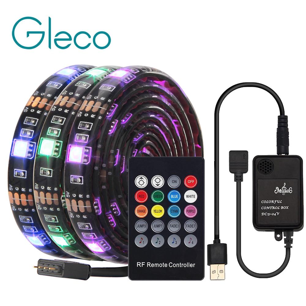 Tira de LED USB con control remoto de música RF IP20/IP65 tira Flexible de luz 5050 RGB TV luz de fondo