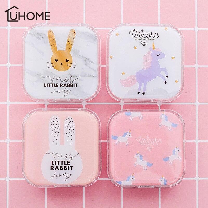 Bonita caja de lentes de contacto con dibujos de conejo unicornio animales caja de gafas para estudiantes de mujer caja de mármol bonito Kit de viaje caja de almacenamiento