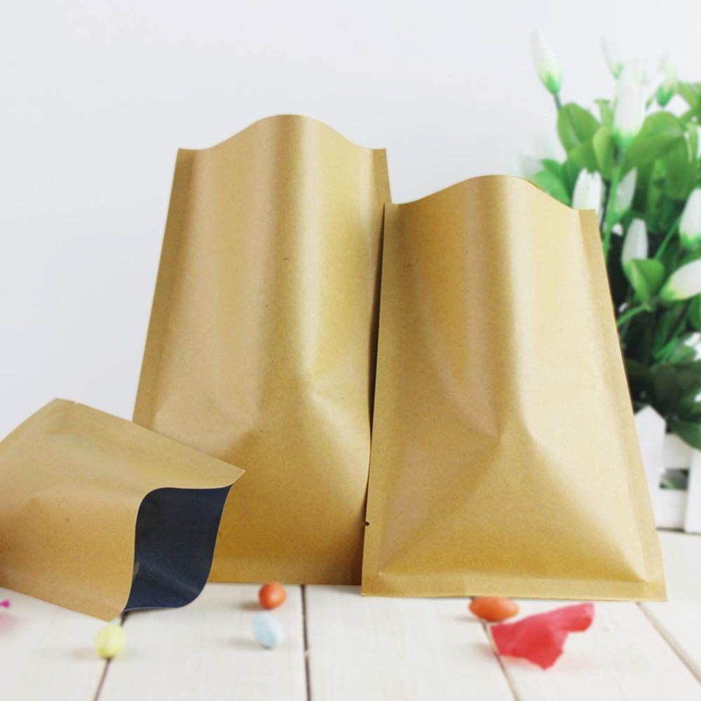 Atacado 11*16 cm saco de Papel Marrom Kraft Folha De Alumínio Top Aberto Alimento Açúcar Em Pó Nozes Sacos De Armazenamento Selo de Calor Pacote Bolsa Mylar