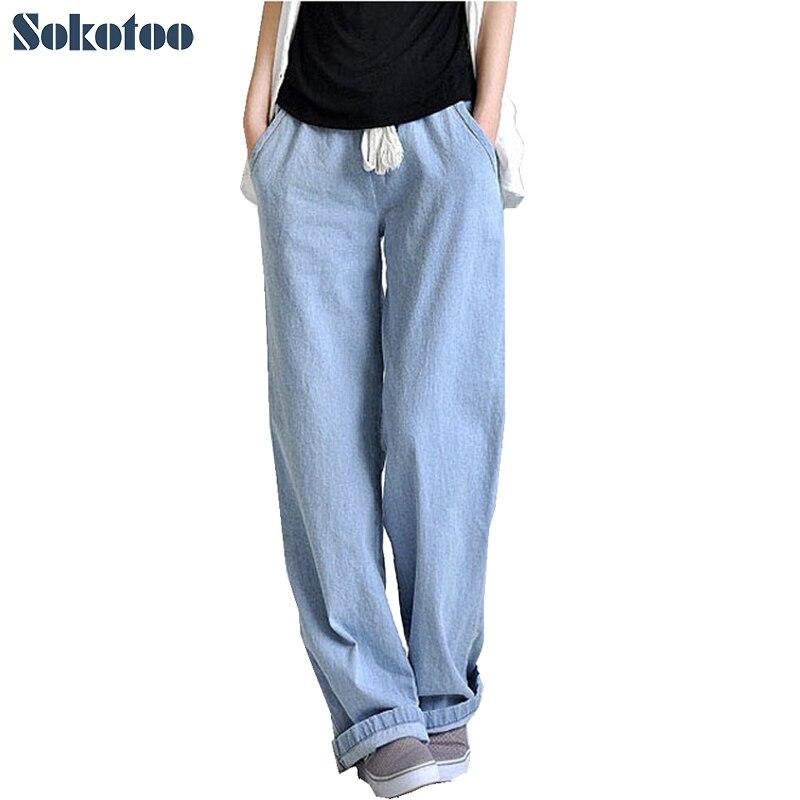 Pantalones de pierna ancha holgados cómodos de talla grande de Sokotoo, pantalones vaqueros rectos para mujer, cintura elástica, Pantalones largos, envío gratis