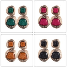 Vintage ZA Accessories 8 Colors Drop Earrings For Women Fashion Wedding Jewel Fashion Acrylic Stones Earring Charm Jewelry