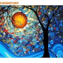 CHENISTORY-peinture abstraite sur toile   Peinture sur la main par numéros, peinture sur arbre de lune, paysage, peinture peinte à la main, décoration murale pour la maison