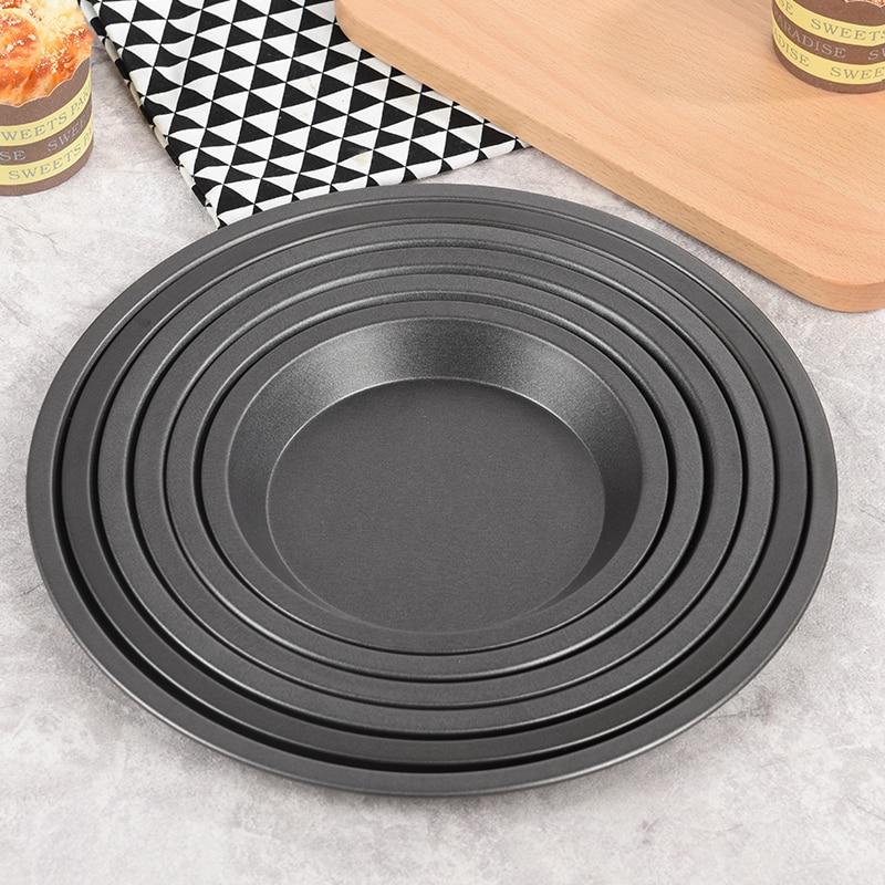 Round Deep Dish Pizza Pan Non-stick Pie Tray Baking Cake Tool  Carbon Steel black drop shipping