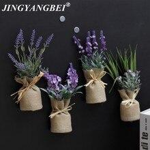 Aimants réfrigérateur en pot de fleurs artificielles   Ensemble de bonsaï en fleurs de lavande en pot, faux vase de fleur Souvenir tableau noir, autocollant magnétique