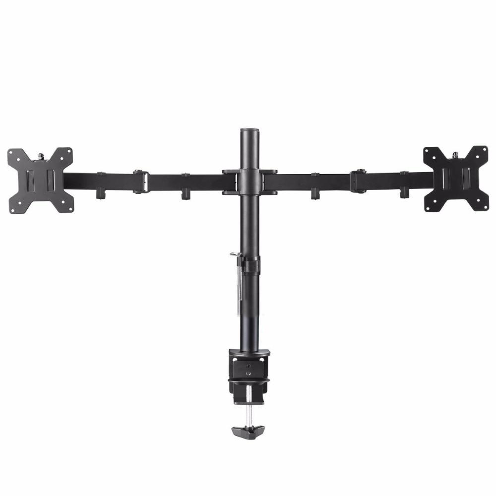 "Suptek Fully Adjustable Dual Arm LCD LED Monitor Desk Mount Stand Bracket for 13""-27"" Screens with 15 degree Tilt MD6442"