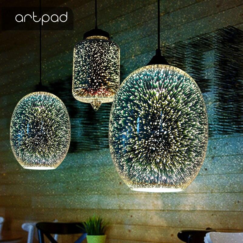 Lámpara colgante LED 3D brillante creativa con forma de bola de cristal colorida para restaurante, Hotel, sala y comedor