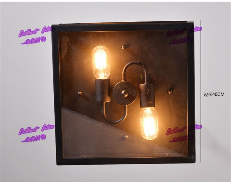 American country retro industrial wind ceiling lamps loft iron glass box 1/2/3/4/6 heads.  - buy with discount