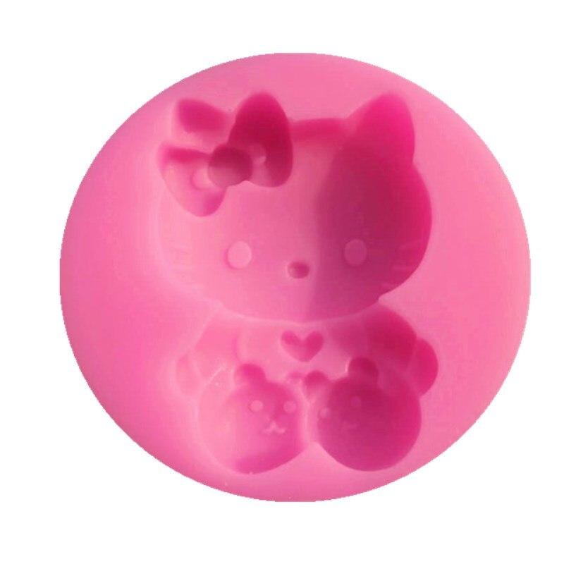 Molde de silicona de gato de dibujos animados Fondant molde de pastel gelatina molde de líquido herramienta de hornear jabón hecho a mano A007
