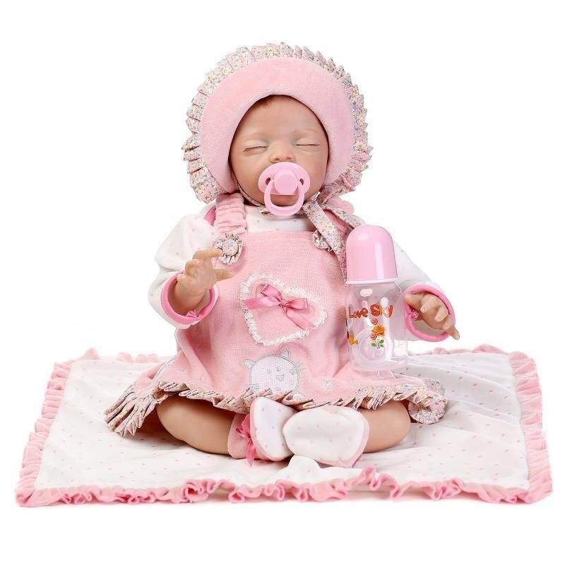 Newborn Doll 22 Inch Reborn Baby Girl Doll sleepin Lifelike toddlers toy handmade can DIY bb reborn play house presents