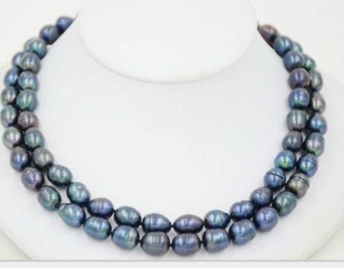 Envío Gratis, producto en oferta, nuevo estilo> impresionante collar de perlas barrocas Pavo Real Verde de Mar del Sur de 12-13mm