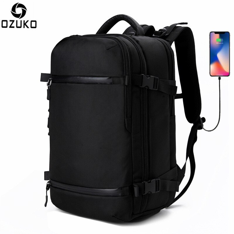 Mochila multifuncional OZUKO, mochila de viaje para hombre, bolsa para zapatos, mochila de equipaje para hombre, mochila grande resistente al agua para ordenador portátil 17,3, bolsos para mujer AER