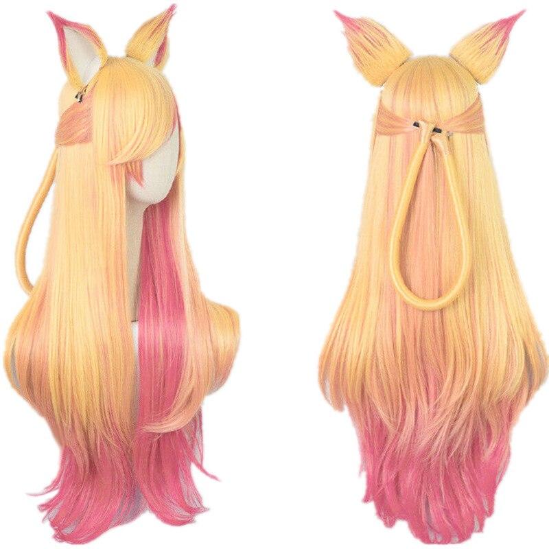 LOL Ари Gumiho Star Guardian золотой розовый смешанный цвет Омбре волнистые волны длинные термостойкие волосы косплей костюм парики + парик колпачок