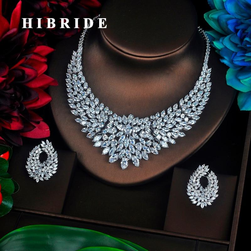 HIBRIDE تألق ماركيز قص مكعب زركونيا كبيرة كامل مجموعات مجوهرات النساء العروس قلادة مجموعة اللباس اكسسوارات حزب تظهر N-340