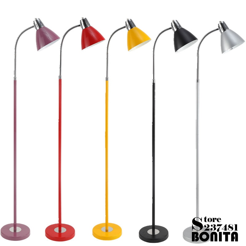 Led 플로어 램프 거실 머리맡 램프 북유럽 간단한 네일 독서 아이 케어 표준 램프 360 학위 회전 층 빛