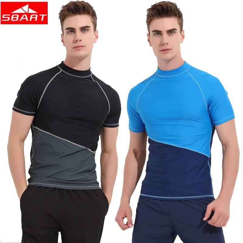 SBART Short Sleeve Men Rash Guards Wetsuit Shirt Lycra Quick-dry Surfing Swimwear Tops T-shirt Anti-UV Windsurf Swim Rash Guards