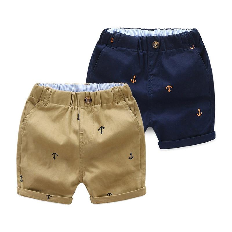 2-9 Years Children Shorts Toddler Kids Short Pant Summer Cotton Anchor Boys Beach Shorts Leisure Cap