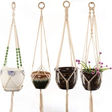 4 Legs String Hanging Rope Wall Art  Vintage Macrame Basket Plants Hanger Hook Flower Pot Holder Home Garden Balcony Decoration
