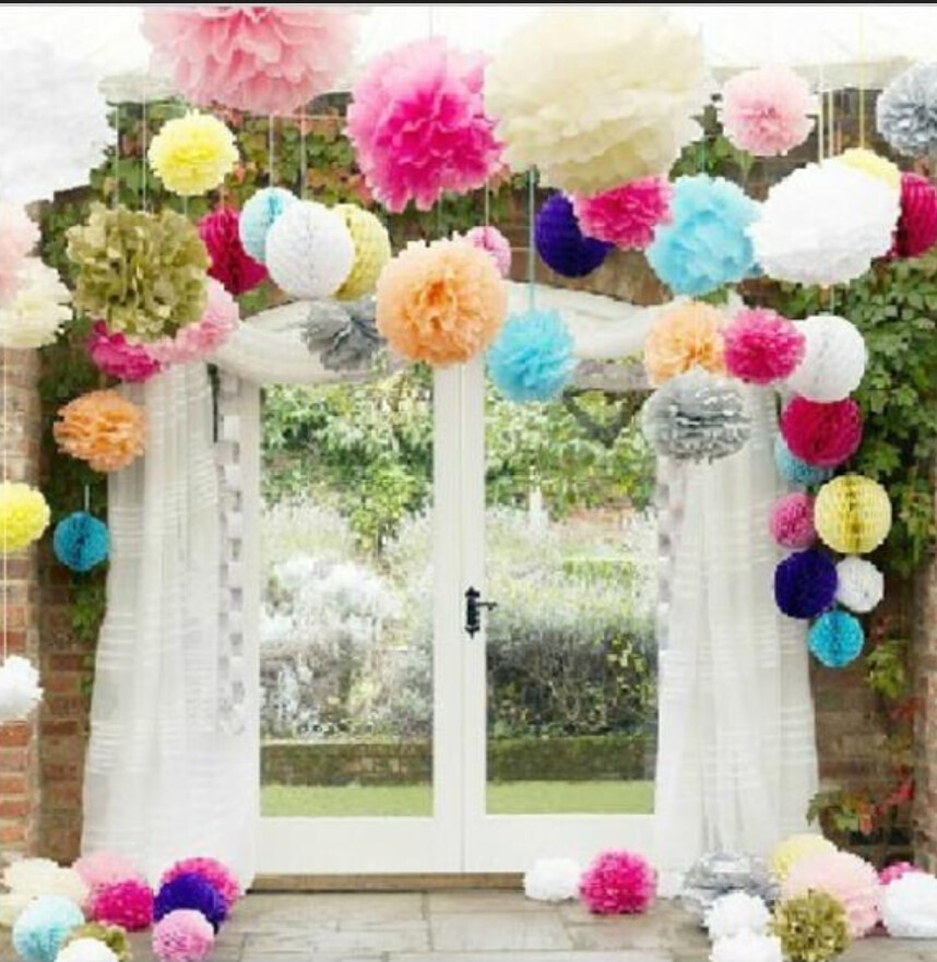 ¡29 colores disponibles! Borlas de papel de seda para cumpleaños 12 pulgadas (30 cm) 5 unids/lote de papel hecho a mano bola rosa de flores rojas baby shower