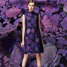Tissu Large tapisserie en satin teint à fils   tissu de mode en fleurs pour manteau, tissu brillant, bricolage, grande taille, importations françaises