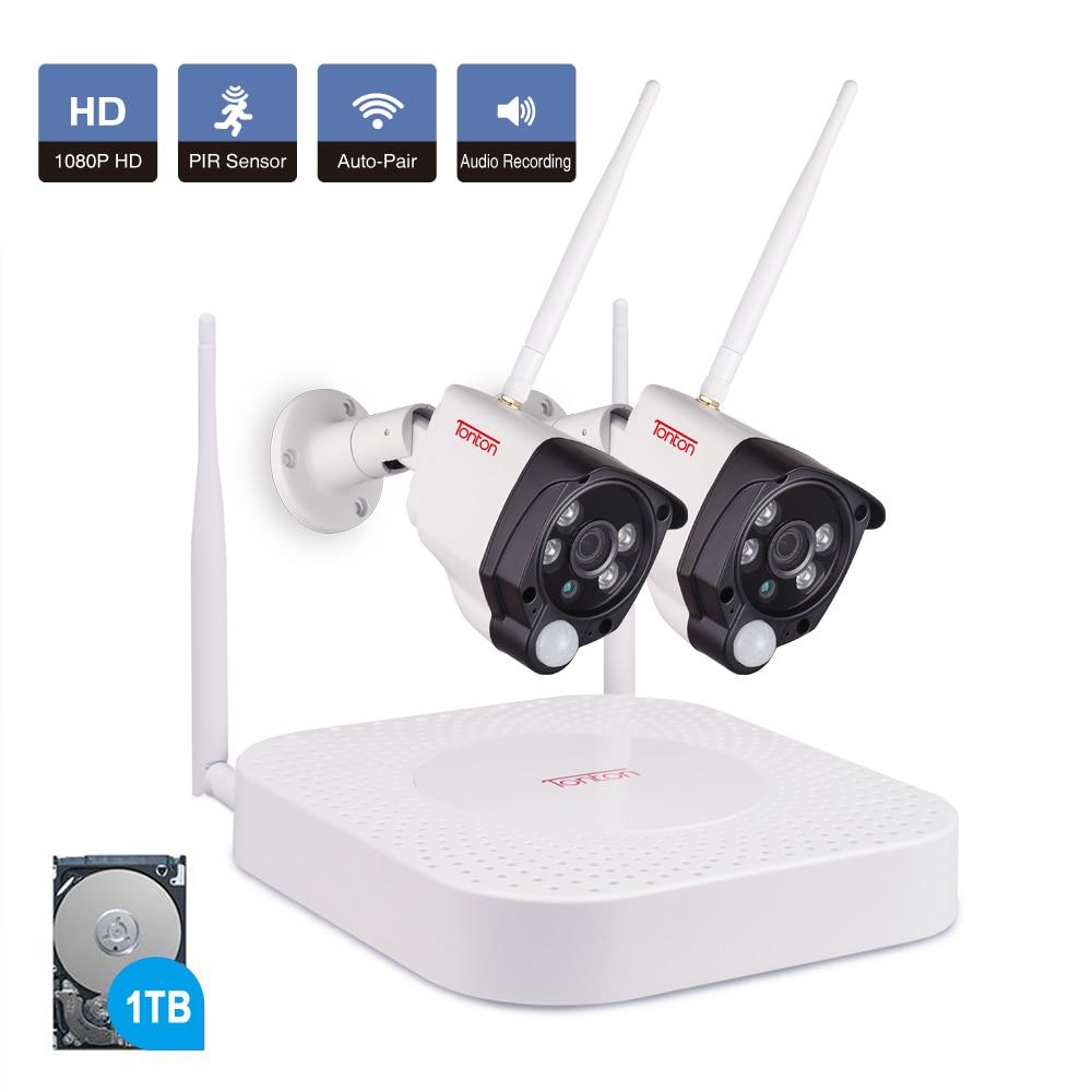 Tonton 4CH 1080P cámara CCTV inalámbrica sistema de seguridad Kit de registro de Audio 1TB HDD NVR wifi kit 2 uds impermeable al aire libre cámara IP