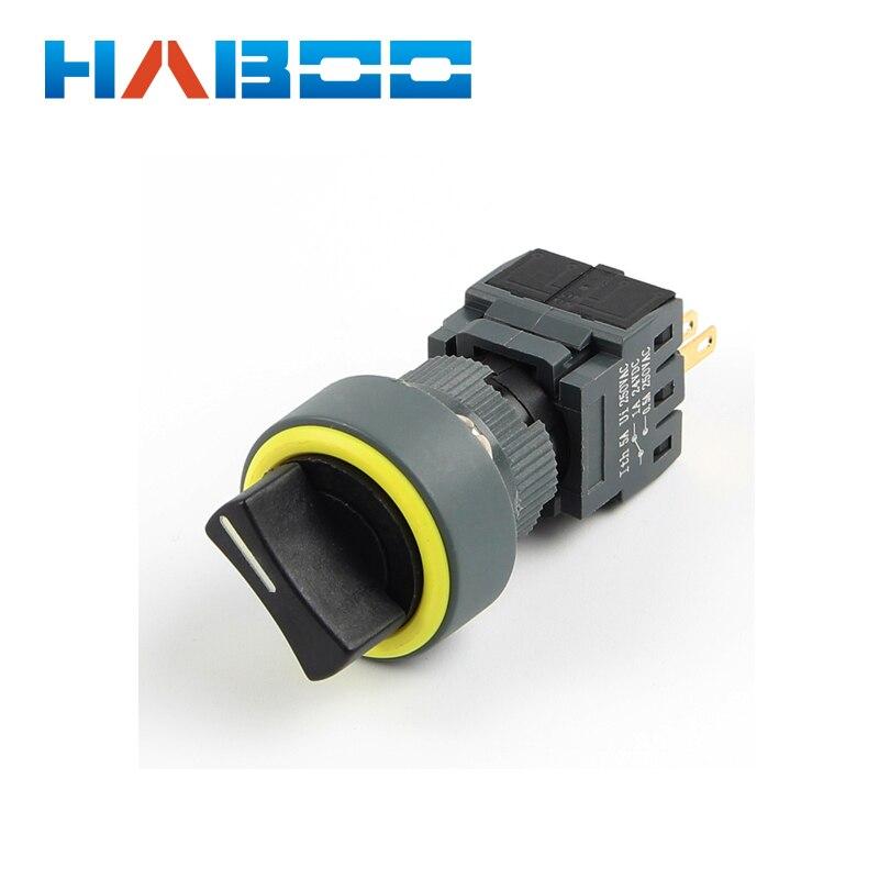 Dia.16mm HABOO HB16 Serie 3 posición selector rotativo 3NO + 3NC de alta calidad 5A 250 V
