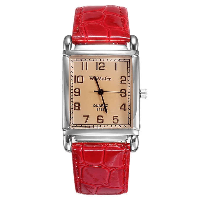 WOMAGE Watches Fashion Casual Watch Women Rectangle Leather Band Quartz Wrist For Womens reloj mujer