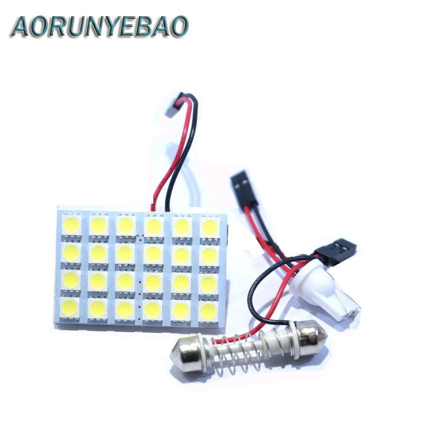 AORUNYEBAO 100pcs Car Panel light LED 5050 24SMD  White DC 12V With T10 Festoon adapter Car Reading Lights Dome lamp Trunk bulb