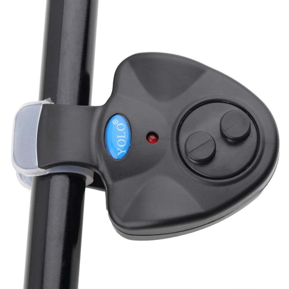YOLO sonido de mordedura de pescado electrónico alarma LED campana de alarma caña de pescar Clip-On con 3 x LR44 botón de la batería nuevo