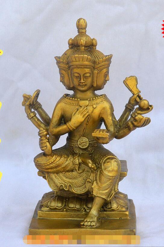 SCY 204 + + estatua de Tailandia de cuatro Buda de cobre sensible a los adornos de Brahma