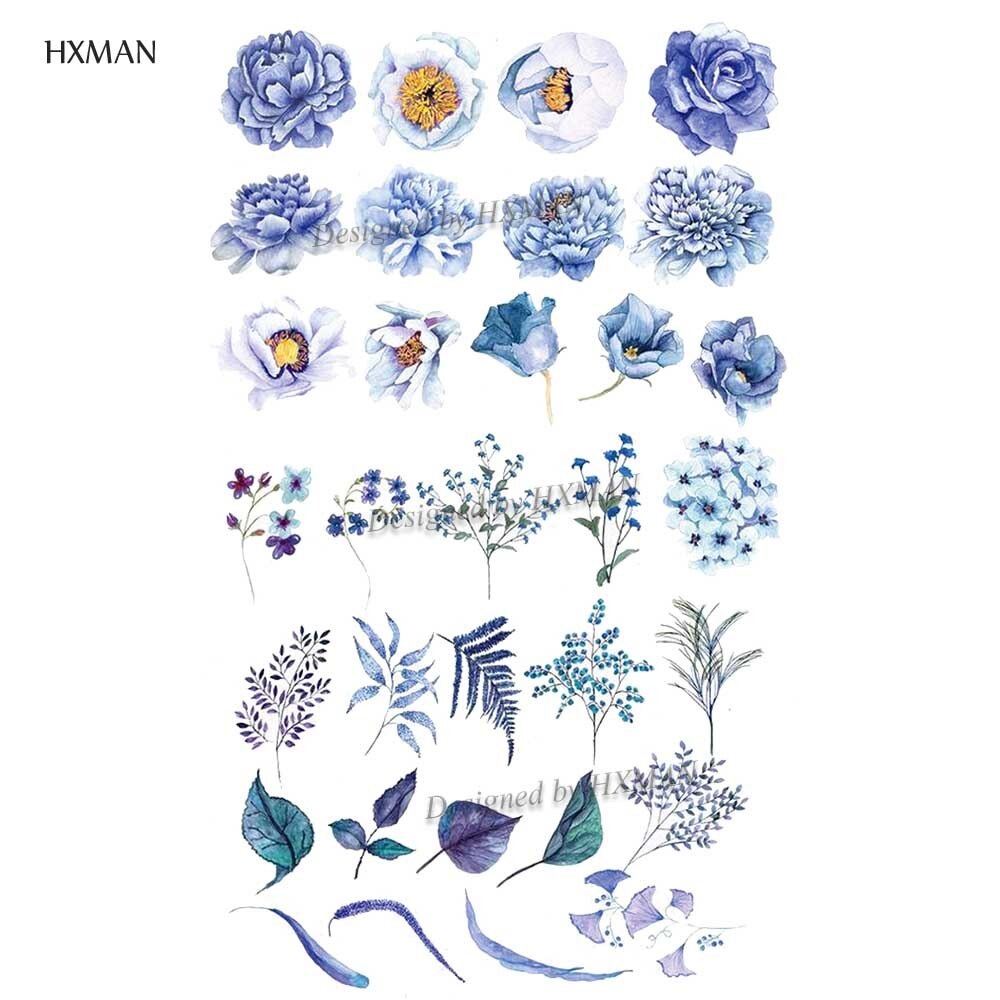 HXMAN Flower Temporary Tattoo Sticker Waterproof Fashion Women Arm Face Fake Body Art 9.8X6cm Kids Adult Hand Tatoo P-052