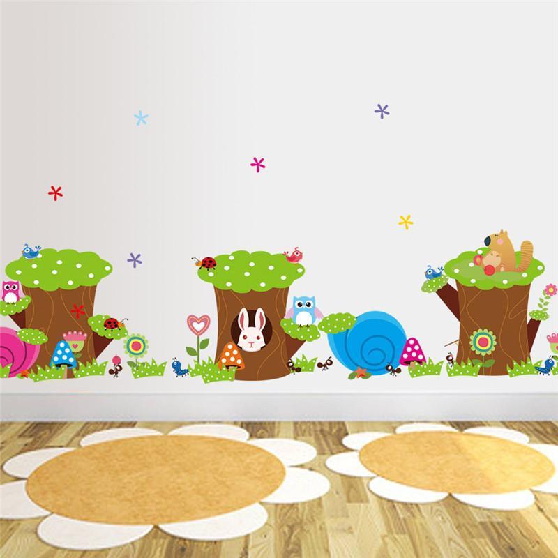 Сова кролик муравей цветок дерево наклейки на стену для детской комнаты украшения маленькие животные наклейки diy мультфильм детей стены ис...