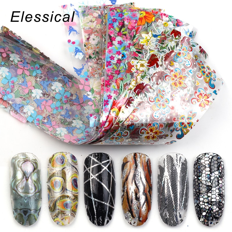 Elessical 18pcs 20*4cm Mix Flower Nail Art Foil sticker Transfer Decals Nail Decorations adhesive tattoo manicure Design Nails