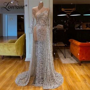 Illusion Prom Dresses Sexy Custom Beaded Party Dress 2019 Couture Abendkleider Dubai Kaftans Arabic Evening Gowns Robe De Soiree