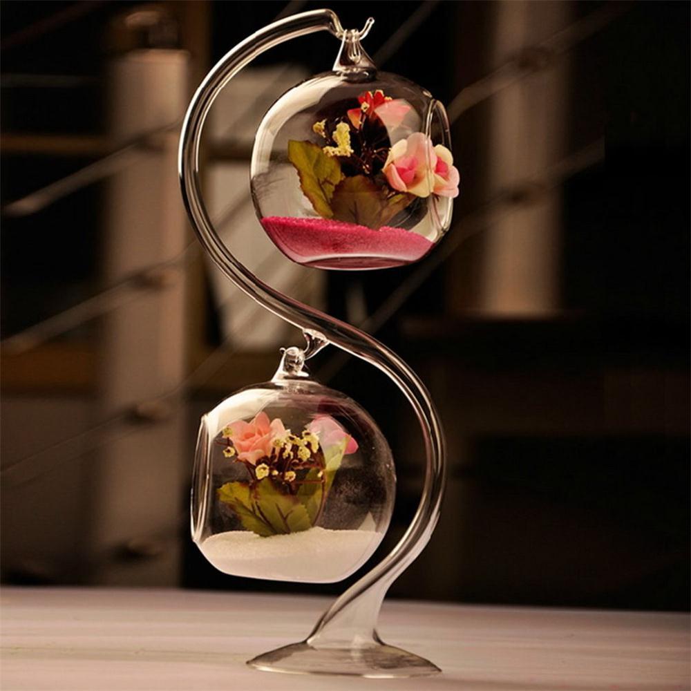 1 pc Transparent Glass Round with 1 Hole Flower Plant Hanging Vase Home Office Wedding Decor Flower Home Decoration Hanging Vase