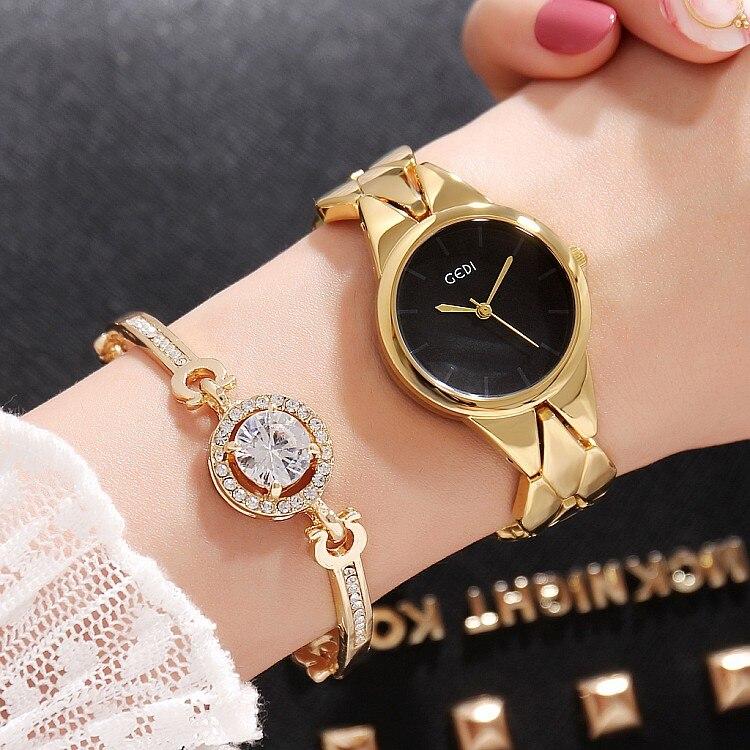 2019 Hot GEDI Fashion Rose Gold Women Watches Top Luxury Brand Ladies Quartz Watch 2 Pieces Watches Relogio Feminino Hodinky enlarge