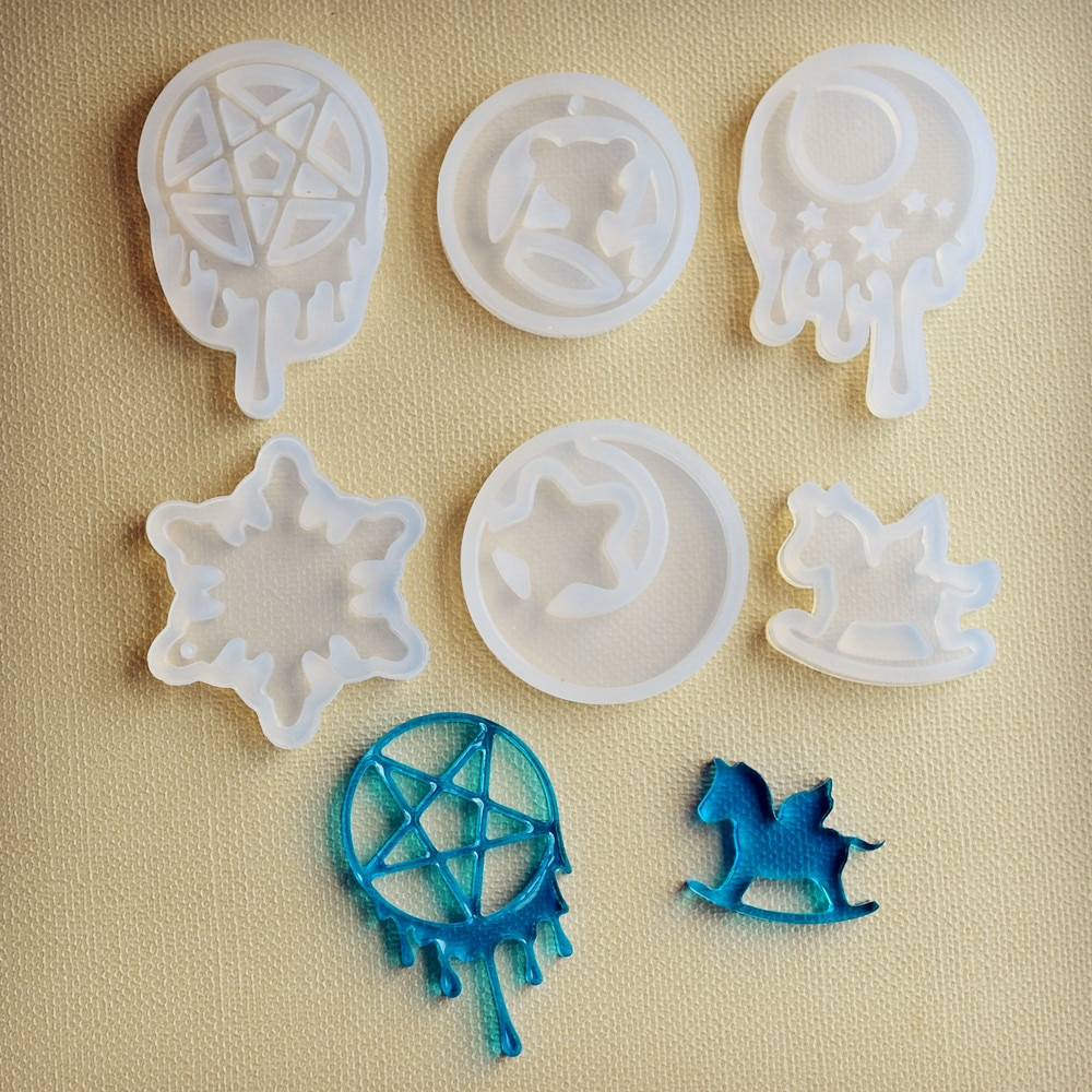 Molde de silicona lágrima Luna estrella Trojan resina molde de silicona hecho a mano DIY epoxy para hacer joyas moldes de resina
