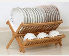 Égouttoir pliable en bambou 2 niveaux   Étagère à vaisselle pliante, séchage de la vaisselle, ustensiles égouttoir pliable Compact en bois pour le dîner, gravures
