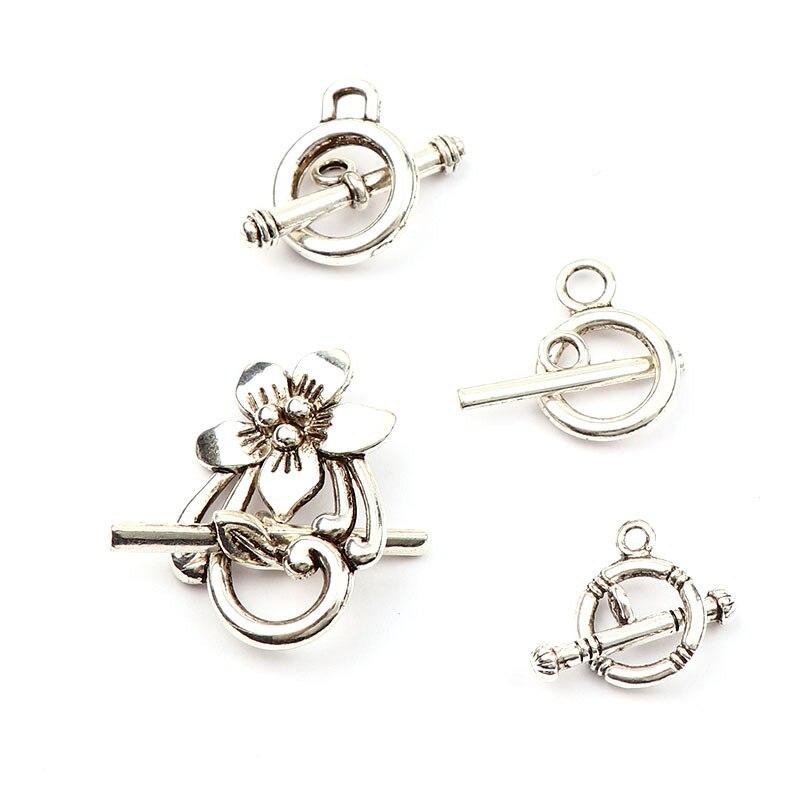 Nuevos conectores de hebilla OT de Color plata antigua a la moda, se ajustan a cierres de collar de pulsera, accesorios de joyería DIY