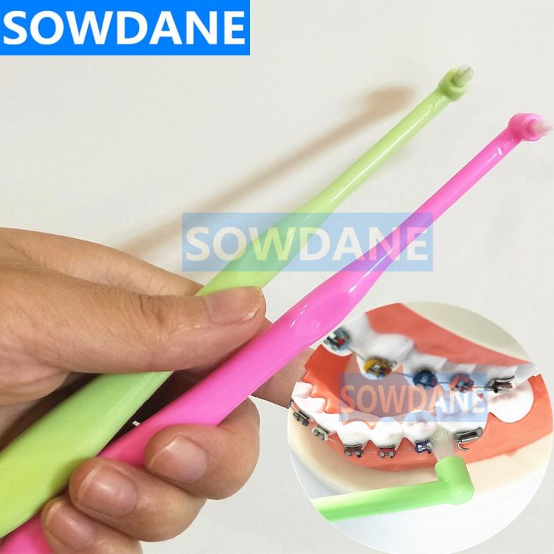 Ortodóntico cepillo de dientes diente en descomposición cepillo Interdental cabeza pequeña señaló profundo dental limpio hilo dental Cuidado Oral higiene limpia